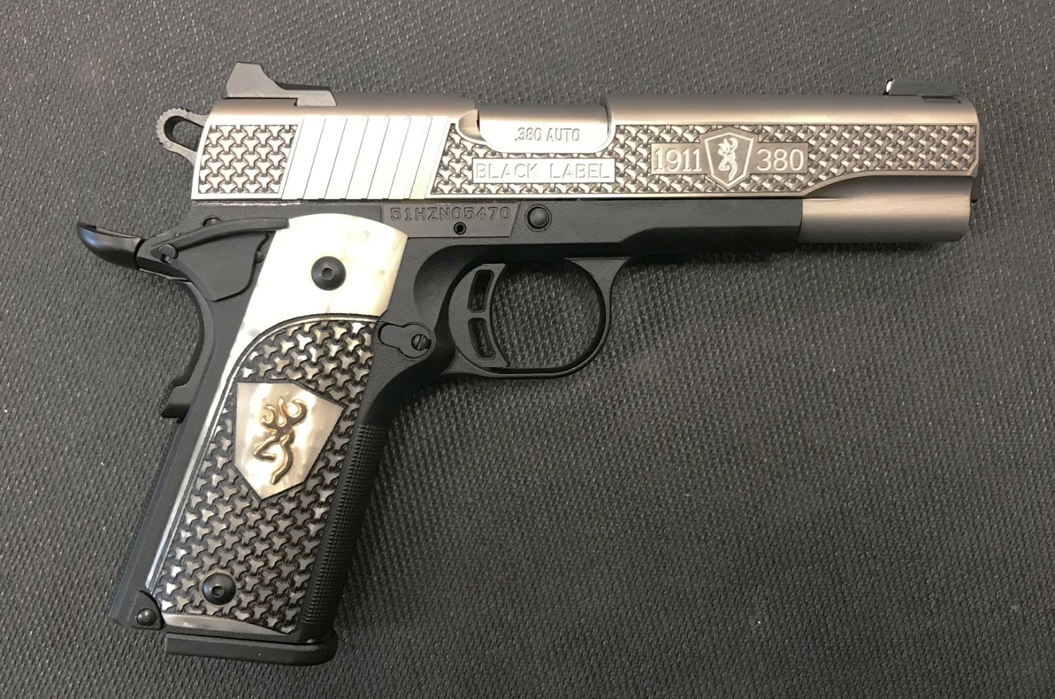 Browning 1911-380 Black Label High Grade Pearl Grips 380 ACP